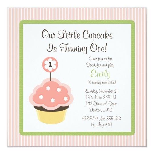 Cute Personalise Pink Cupcake Birthday Invitations