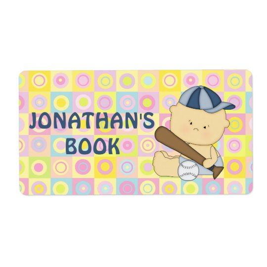 Cute personalised baseball kid book plate