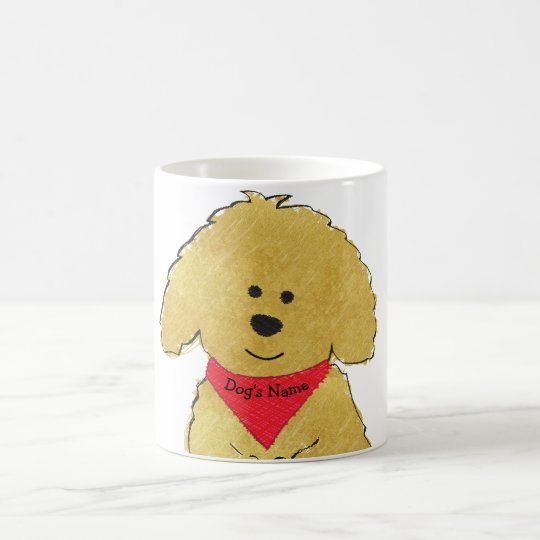 Cute Personalised Cartoon Goldendoodle Puppy Coffee Mug