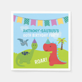 Cute Personalised Dinosaur themed Party Disposable Serviettes