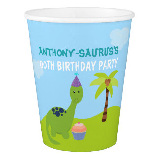 Cute Personalised Dinosaur themed Party Paper Cup