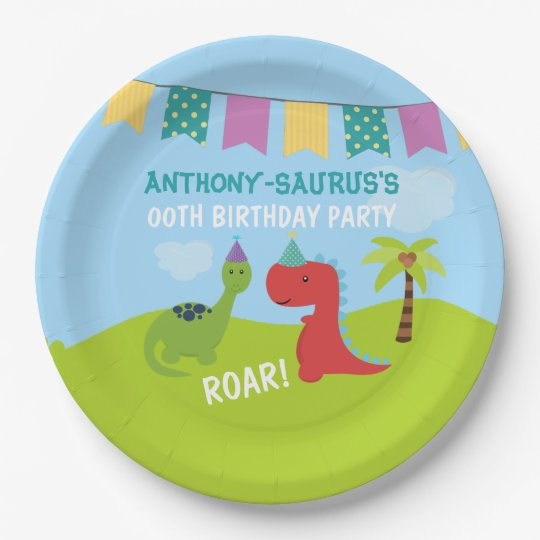 Cute Personalised Dinosaur themed Party Paper Plate