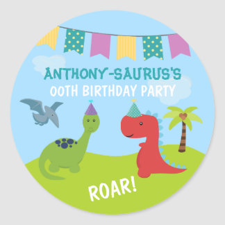 Cute Personalised Dinosaur themed Party Round Sticker