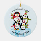 CUTE Personalised Family Of 4 Penguins Christmas Christmas Ornament
