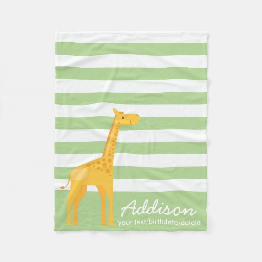 Cute Personalised Giraffe Jungle Mint Green Stripe Fleece