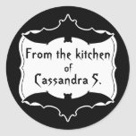 Cute personalised Halloween black and white baking Round Sticker