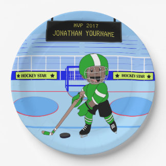 Cute Personalised Ice Hockey star 9 Inch Paper Plate