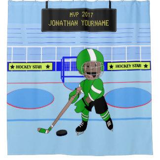 Cute Personalised Ice Hockey star Shower Curtain
