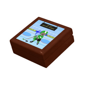 Cute Personalised Ice Hockey star Small Square Gift Box