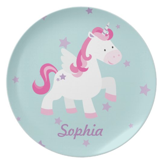 Cute Personalised Magical Unicorn Melamine Plate