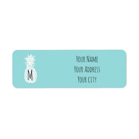 cute personalised monogram pineapple return address label