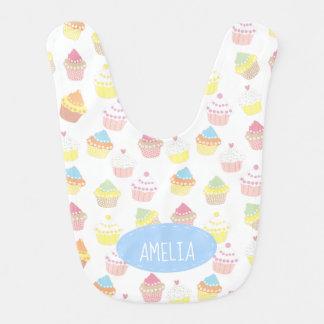 Cute Personalised Pastel Cupcake Pattern Bib