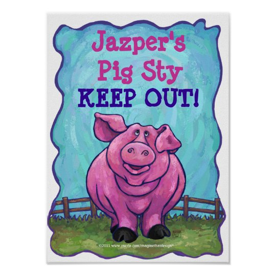 Cute Personalised Pig Sty Room Poster