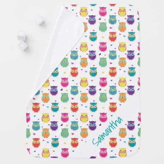 Cute Personalised Rainbow Owl Pattern Baby Baby Blanket