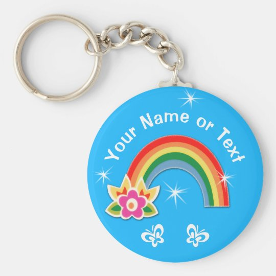 Cute Personalised Rainbow Party Favours for Girls Key