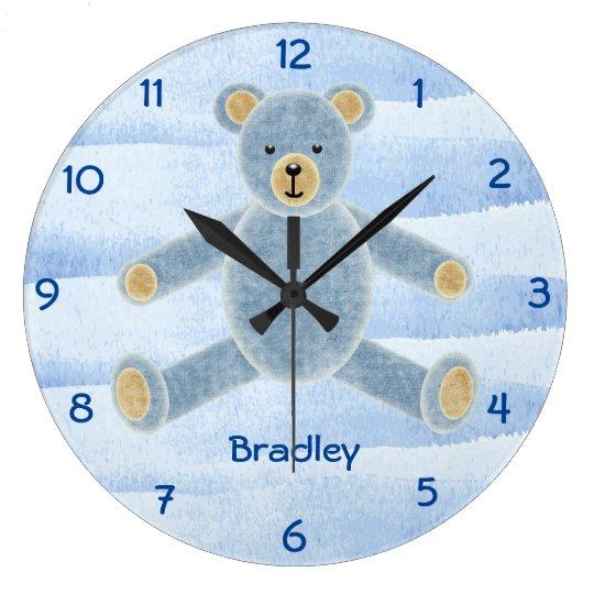 Cute Personalised Teddy Bear Wall Clock - Blue