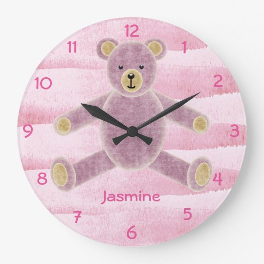 Cute Personalised Teddy Bear Wall Clock - Pink
