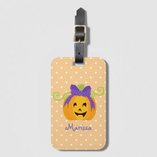 Cute Personalize Halloween Pumpkin Luggage Tag