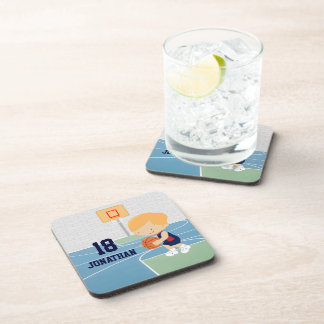 Cute Personalized Basketball Player blonde navy Beverage Coasters