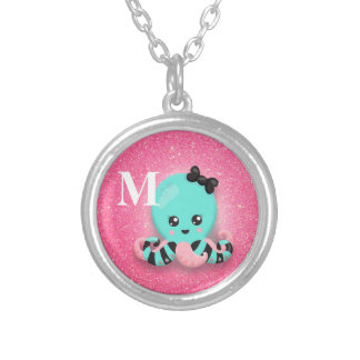 Cute Personalized Blue and Pink Octopus Glitter Silver Plated Necklace