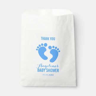 Cute Personalized Blue BABY FEET BOY Baby Shower Favour Bags
