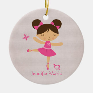 Cute personalized brown hair ballerina ornament