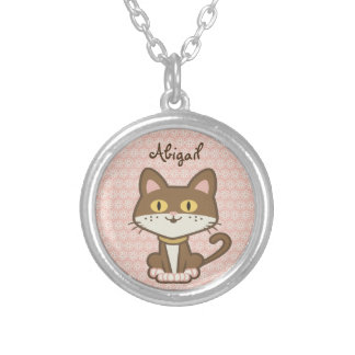 Cute Personalized Brown Kitty Cat Necklace