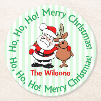 Cute Personalized Christmas Santa Claus Round Paper Coaster