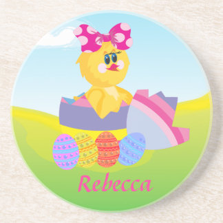 Cute Personalized Easter chic Beverage Coasters