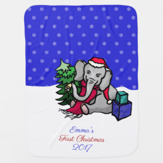 Cute Personalized First Christmas Elephant in Snow Baby Blanket