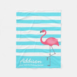 Cute Personalized Flamingo Tropical Blue Stripe Fleece Blanket