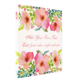 Cute personalized floral watercolor canvas print