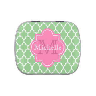 Cute personalized girly monogrammed jelly belly candy tin