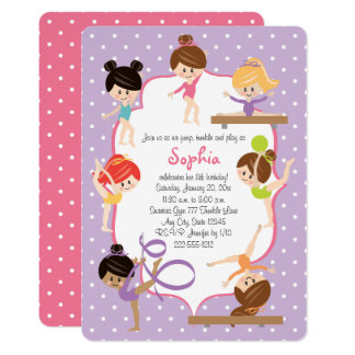 Cute Personalized Gymnastics Birthday Party Card