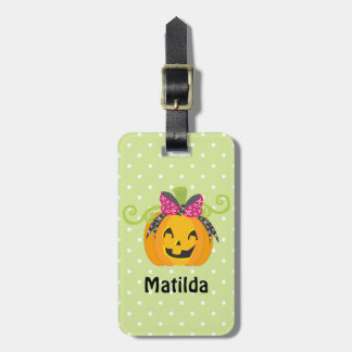 Cute Personalized Halloween Pumpkin Luggage Tag
