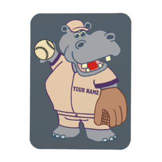 Cute Personalized Kids Baseball Hippo Magnet