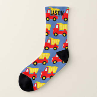 Cute personalized kid's socks with red dump trucks 1