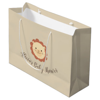 Cute Personalized Little Lion Baby Shower Gift Bag