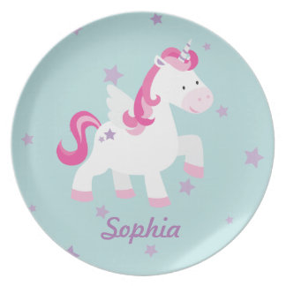 Cute Personalized Magical Unicorn Melamine Plate