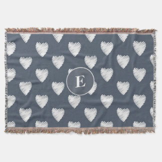 Cute Personalized Monogram White Hearts Navy Blue Throw Blanket