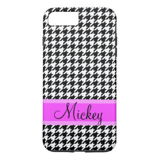 Cute Personalized Name Black and White Houndstooth iPhone 7 Plus Case