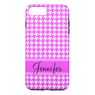 Cute Personalized Name Pink and White Houndstooth iPhone 7 Plus Case