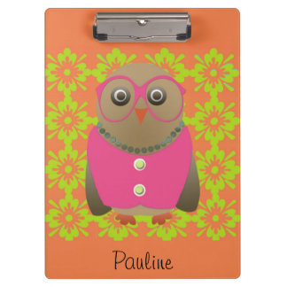 Cute Personalized Orange Old Lady Owl Clipboard