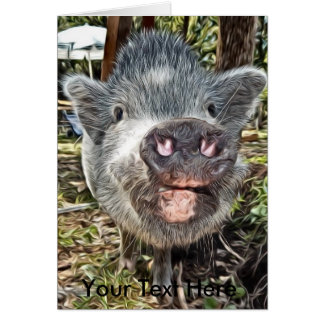 Cute Personalized Painted Mini Pig Card