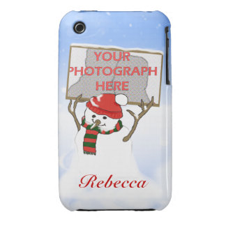 Cute personalized photo snowman Christmas iPhone 3 Covers