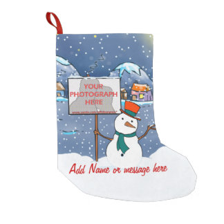 Cute personalized photo Xmas Snowman Small Christmas Stocking