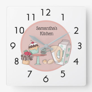 Cute Personalized Pink Cupcake Kitchen Wall Clock