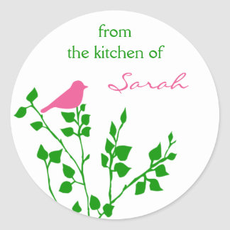 Cute Personalized Pink Green Bird Baking Stickers
