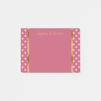 Cute Personalized Pink Polka Dots and Gold Post-it Notes