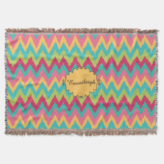 Cute Personalized Pink Yellow Teal Green Chevron Throw Blanket